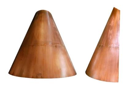 Cappe su misura Rame ed ottone Curve Troncoconica per caminetto in rame